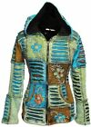 Flower Embroidered Pointy Hoodie Fleece Lined Hippie Jacket Women Slashed Layer