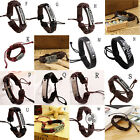 Fashion Men Women Leather Wrap Wristband Cuff Punk Bracelet Bangle FMA