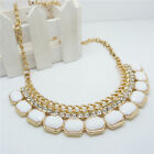 Women Lady Girl Fashion Bib Crystal Pandent Long Chunky Chain Statament Necklace