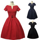 Women Sexy V Neck 50s 60s Rockabilly Casual Party Cocktail Pinup Swing Dresses