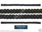 Plaited Leather Show Browband Black / Havana - Shetland Pony Cob Full X-Full