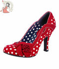 RUBY SHOO ISSY TEXTILE milan POLKA DOT spotted heels SHOES RED