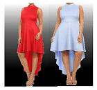 PLUS SIZE BLUE OR RED HI LOW ASYMMETRICAL SLEEVELESS SEXY SHIRT DRESS 1X 2X 3X