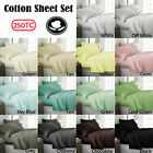 100% Cotton 250TC Sheet Set (1xFlat plus 1xFitted plus Pillowcase/s ) 38cm wall