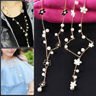 HOT Fashion Girl Lady Pearl Flower Sweater Long Chain Pendant Necklace Jewelry