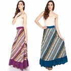 Women's Aztec Ruffled Summer Long Maxio Gypsy Skirt-50323