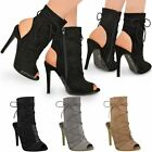 High Heel Lace Up Party Sandals Womens Ladies Open Toe Stiletto Ankle Boots Size