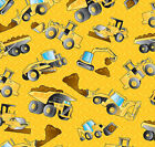 CONSTRUCTION TRUCKS YELLOW KIDS NOVELTY SEWING CRAFT QUILT FABRIC *Free Oz Post