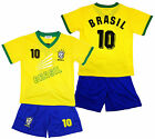 Boys BRASIL Logo Sport T-Shirt Top & Shorts Outfit Kit Set 2-14 Years NEW