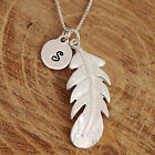 Sterling Silver 3D Angel Wing Feather Pendant Personalised Initial Tag Necklace