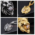 Stainless Steel Silver Gold Jewelry Men's Lion King Pendant Necklace White Stone