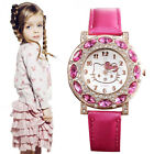 Lovely Hello Kitty High Quality Leather Crystal Watch Children Women Girls Gift