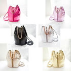Women Faux Leather Shoulder Drawstring Bucket Bag Crossbody Handbag Purse Hot FM