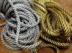 "VINTAGE FRENCH 3/16"" Twisted METALLIC GOLD or SILVER Rope Cord Trim 1yd"