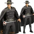 Mens Deluxe Mask Of Zorro Musclechest Super Hero Fancy Dress Costume + Hat