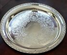 Vintage WM Rogers SilverPlated 772 Serving Tray Itched Ornate Flower Design