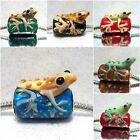GECKO'-1 X Blue/Black/Lizard/Frog Murano Glass Animal/Insect European Charm Bead