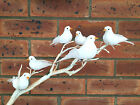 Set of 6 or 12 Small Feather Bird on Clip Vintage Foam Dove Wedding Decoration