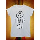I Hate You X Smiley Hipster Cool Men Women Unisex T Shirt Tank Top Vest Tee New