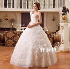 One Shoulder Floral Princess Bride's Wedding Dresses Bridal Ball Gowns Marriage