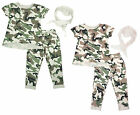 Girls Army Camo Combat Print T-Shirt Trousers & Scarf Outfit Set 3 to 14 Years