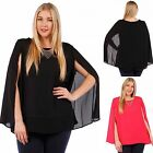 GLAMOUROUS Cape Tunic Top w/ Gold Necklace Solid Black - Coral 1X-3X Woven USA