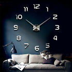 Large DIY 3D Art Mirror Wall clock living room Non Ticking Home Decor silver