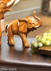 """faux carved wood BABY 5"""" sculpture lucky RAISED TRUNK elephant figurine statue"""
