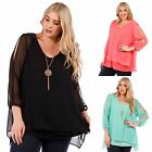 Cold Shoulder Long Sleeve Layered Chiffon Top w/Necklace Coral Black Mint 1X-6X
