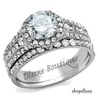 2.75 CT HALO ROUND CUT AAA CZ STAINLESS STEEL WOMEN'S WEDDING RING SET