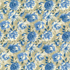 FADED SPLENDOUR ROSE CLUSTERS BLUE QUILTING QUILT COTTON FABRIC *Free Oz Post