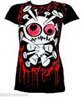 White Voodoo Doll TShirt Top Emo Punk Hand Printed by Couck UK Size Small