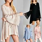 JODIFL Boho Solid Trapeze Swing Bell Sleeve Tunic / Dress Lace Trim 4 Colors S-L