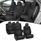 Charcoal Car Seat Covers for Sedan SUV Truck Set Split Bench Option 5 Headrests
