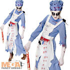 Zombie Victorian Maid Ladies Fancy Dress Halloween Horror Womens Adults Costume