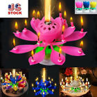US STOCK Musical Lotus Flower Rotating Happy Birthday Candle w/ 14 Small Candles