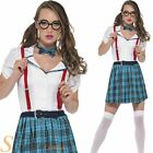 Ladies Geek Chic Costume Sexy School Girl Fancy Dress Adult Womens Outfit