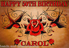 Rockabilly swallow roses Party Cake Decoration icing sheet personalised Birthday