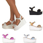 Ladies Buckle Hologram Flatform Shoes Platform Gladiator Wedge Sandals All Sizes