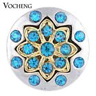 20PCS/Lot Wholesale Vocheng Blue Metal Snap Button 18mm Flower Charm Vn-1129*20