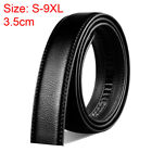 Mens Belt No Buckle Black Genuine Leather Belt size S-9XL Width: 3.5cm/1.38 ""