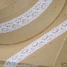 Full Roll Cotton Lace Ribbon 25mm x 10m - White - Vintage Wedding, Cards, Sewing