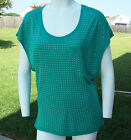 Rock & Republic Cap Sleeve Solid Teal Versatile Rayon Knit Top w/Cut-Out Back