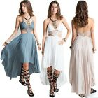 Sexy Straps Lace Embroidery Cut Out High Waist Asymmetric Summer Maxi Long Dress