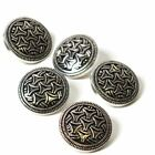 Hemline Gold or Silver Metal Patterned Button 5 Pack Sewing Haberdashery Craft