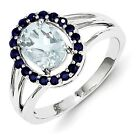 Sterling Silver Aquamarine and Sapphire Oval Ring