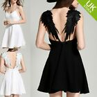 Lady Women Soild Color Sleeveless With Angel Wings A-Line Evening Dress