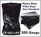 Black Bin Bags Refuse Sacks 18 x 33 x 39 Heavy Duty Wide Bags 200 Gauge Strong