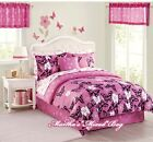 BUTTERFLY Floral 9-11p Teen Girls PINK Comforter Set+2-Valances+Pillow Twin Full <br/> COMFORTER~SHAM(S)~BED SKIRT~SHEETS+2-VALANCES+PILLOW