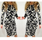 Black Summer Long Sleeve Floral Print Pattern Bodycon Party Midi Dress